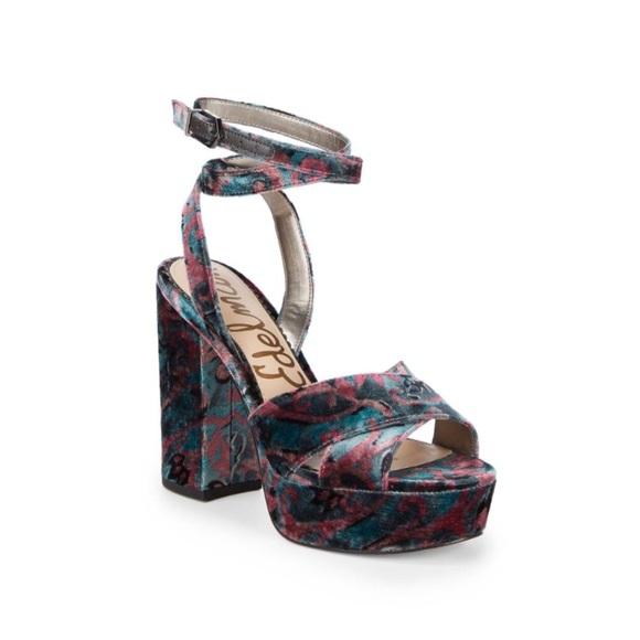 c3a1ab4c8 Sam Edelman Masie Velvet Paisley High Heel Sandal